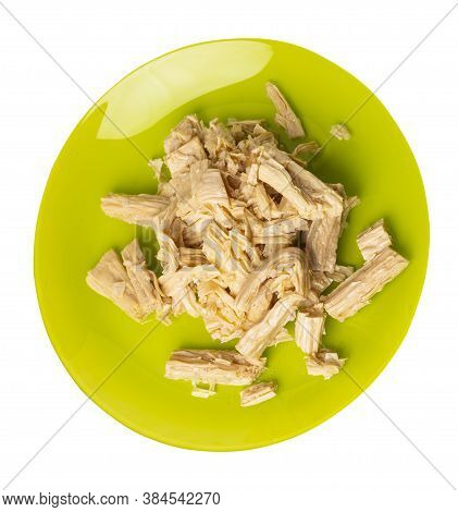 Soy Asparagus Noodles On Lime Plate, Isolated On A White Background. Healthy Food . Asian Food. Soy