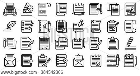 Writing Icons Set. Outline Set Of Writing Vector Icons For Web Design Isolated On White Background