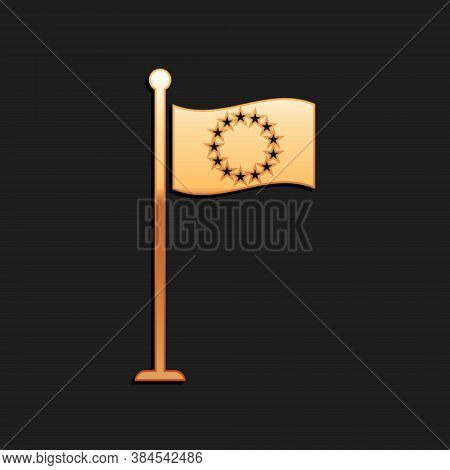 Gold Flag Of European Union Icon Isolated On Black Background. Eu Circle Symbol. Waving Eu Flag On A