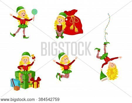Christmas Elfs Kids Vector Children Santa Claus Helpers Cartoon Elfish Girls. Girl Elves With Green