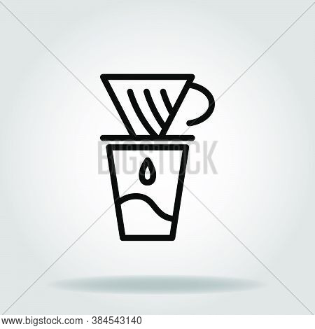Logo Or Symbol Of Coffe Maker V60 Icon With Black Line Style