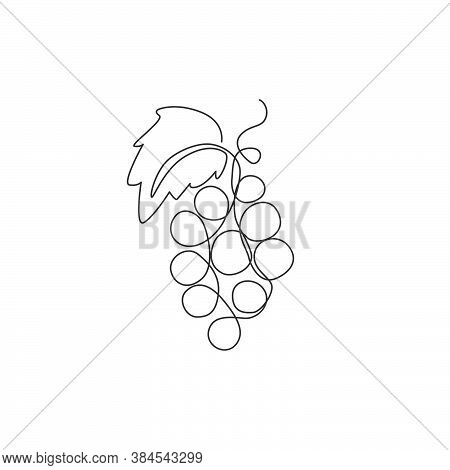 Single Continuous Line Drawing Healthy Organic Grapes For Vineyard Logo Identity. Fresh Tropical Fru