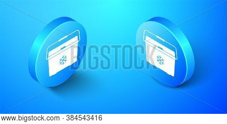 Isometric Cooler Bag Icon Isolated On Blue Background. Portable Freezer Bag. Handheld Refrigerator.