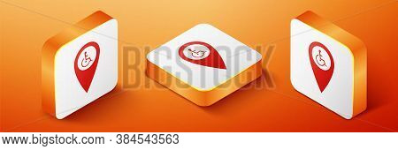 Isometric Disabled Handicap In Map Pointer Icon Isolated On Orange Background. Invalid Symbol. Wheel