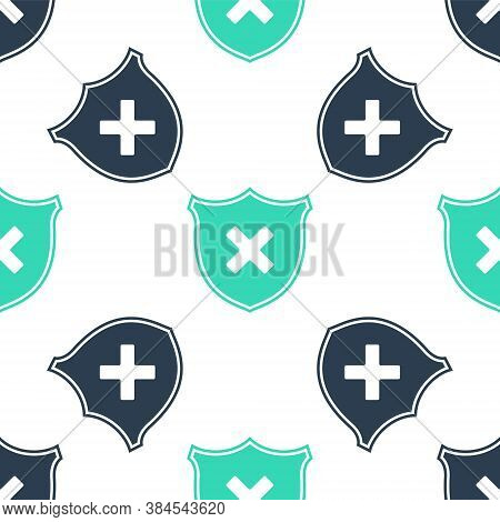 Green Shield And Cross X Mark Icon Isolated Seamless Pattern On White Background. Denied Disapproved