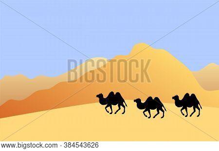 Vector Camel Silhouette Isolated On Flat Cartoon Desert Sand Landscape