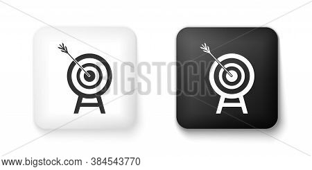 Black And White Target With Arrow Icon Isolated On White Background. Dart Board Sign. Archery Board