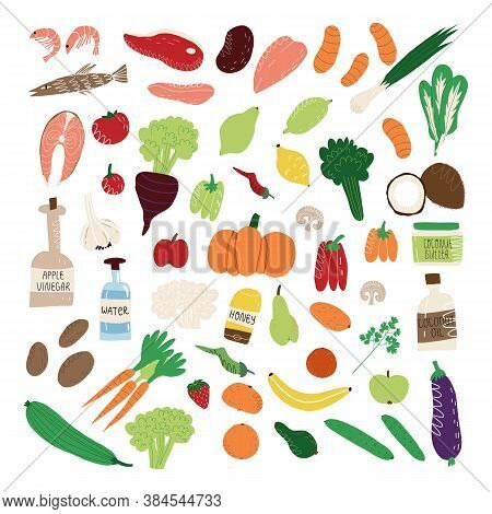 Big Set Of Healthy Nutrition Like Fruits And Vegetables, Organ Meat And Fish, Seafood, Green And Sal
