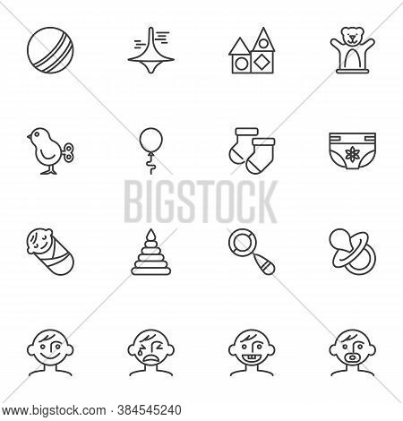 Baby Related Line Icons Set, Outline Vector Symbol Collection, Linear Style Pictogram Pack. Signs, L
