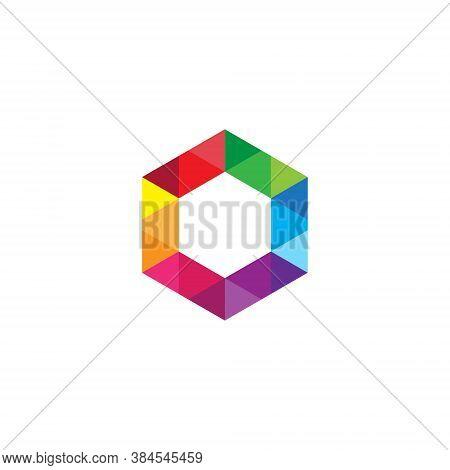 Hexagon Logo Element Perspective Geometric Pattern Abstract Design Vector Line Art Geometry Shape Gr