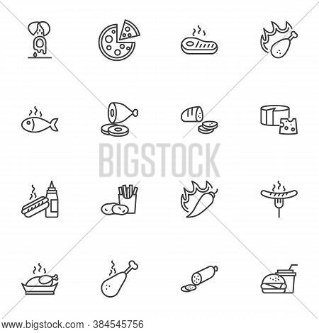 Junk Food Line Icons Set, Outline Vector Symbol Collection, Linear Style Pictogram Pack. Signs Logo
