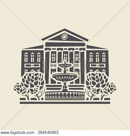 Icon Or Stencil Of A Stylized Old Two-storey Building With Columns, A Fountain And Trees. Decorative