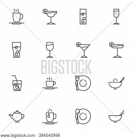 Glassware Line Icons Set, Kitchen Utensils Outline Vector Symbol Collection, Linear Style Pictogram