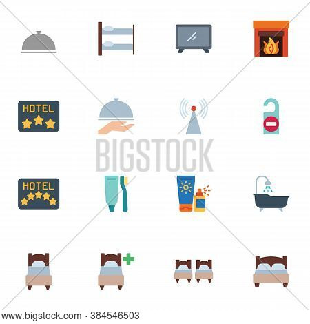 Hotel Service Collection, Flat Icons Set, Colorful Symbols Pack Contains - Hotel Rate Stars, Twin Ro