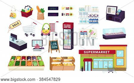 Supermarket, Grocery Store, Food Market Shop Icons Set Isolated On White Vector Illustrations. Showc