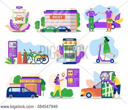 City Transport Rental Service Icons Set Of Vector Illustrations. Rent Vehicle Transportation Car, Bi
