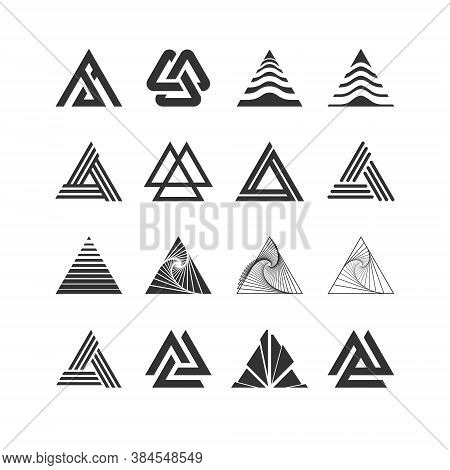 Triangle Logo Set Collection - Abstract Prism Geometric Shape Vector Graphic Technology Business Geo