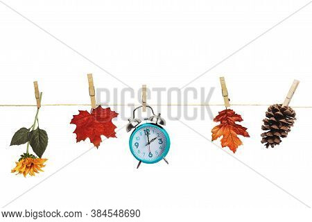 Set Your Clocks Back With This Clock, Flower, Autumn Leaves And And Pine Cone Hanging By Clothes Pin
