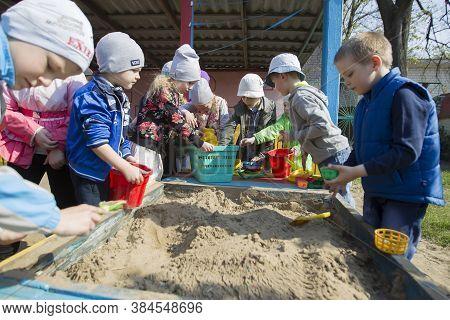 Belarus, Gomel, May 30, 2019. An Open Day In A Kindergarten. A Group Of Children From Kindergarten P