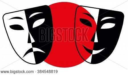 Tragedy Comedy Masks. Black And White Theater Faces, Smiled And Sad With Red Circle. Perfomance Dram
