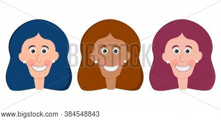 A Set Of Girls  Heads With Braces Isolated On A White Background. Girls Of Different Races And Diffe