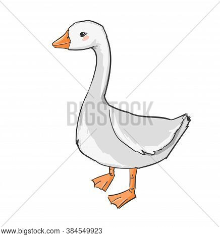Hand Drawn Cute Goose Isolated On White Background Vector Illustration