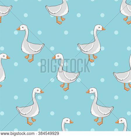 Seamless Pattern Hand Drawn Cute Goose Vector Illustration