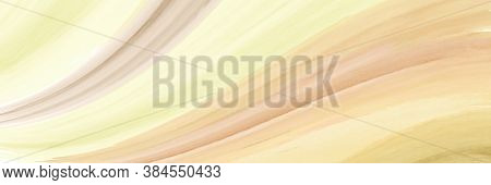 Abstract Horizontal Background Texture Creative With Yellow Streaky Waves Watercolor Paintbrush. Art