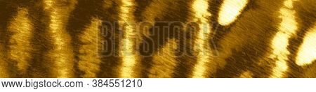 Gold Foil Ogee Ikat. Dyed Background. Abstract Watercolour Stains. Crumpled Texture. Ogee Ikat. Dyed