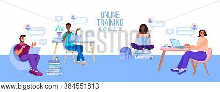 Online School Or University Education Vector Illustration With Diverse Students, Classroom. Virtual