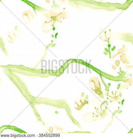 Floral Designs Watercolor. Seamless Apple Illustration. Chinese Petal Drawing. White Floral Designs.