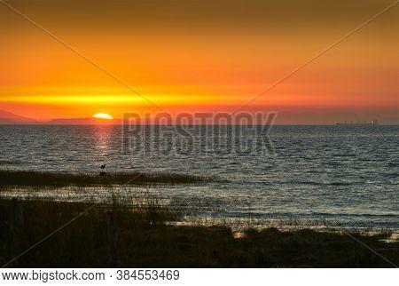 Salish Sea Strait Of Georgia. Georgia Strait And Salish Sea Sunset Looking Towards Vancouver Island.