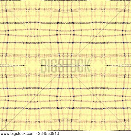 Indigo Square Plaid. Seamless Checkered Print. Celtic Tartan Pattern. Abstract Retro Textile. Square