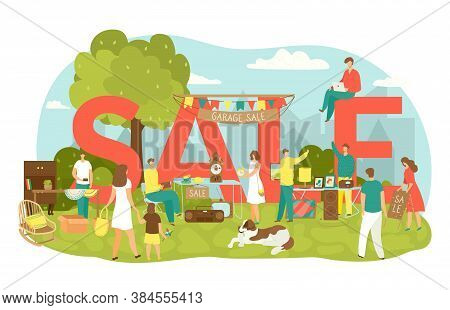 Garage Sale In Yard With Lettering Sale Vector Illustration. People Buy And Sell Housewares, Clothin