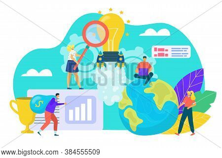 Idea Concept, Creativity And Business Solution Vector Illustration. Tiny People Look For Light Bulb,