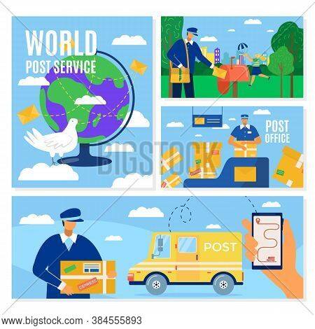 Mail Delivery Service Banners Set, Postal Courier Man In Front Of Cargo Van Delivering Package, Vect
