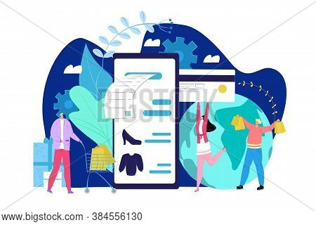 Payment Card Concept, People Holding Credit Card And Phone And Making Purchase Online Vector Illustr