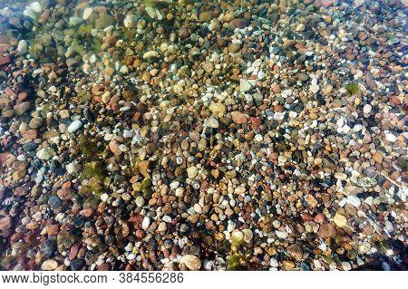 Small Stones In Sea Water, Sea Pebbles Under Water