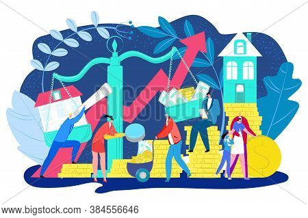 Rise In Property Prices, Growth Of Realty Estate And Rising House Market Vector Illustration. Increa