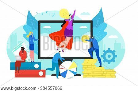 Start Up Concept Of New Business Project Vector Illustration. Start-up In Teamwork And Managers Laun