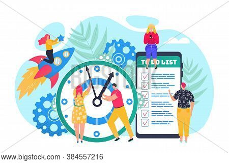 Time Management Concept, Efficient Use Of Time For Implementation Of Business Plan Vector Illustrati
