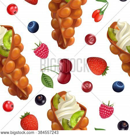 Realistic 3d Detailed Hong Kong Wafer Seamless Pattern Background Include Of Cream And Fresh Fruit.