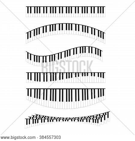 Piano Keyboards Curved Line Different Types Shape Set Classical Musical Instrument Concept For Graph