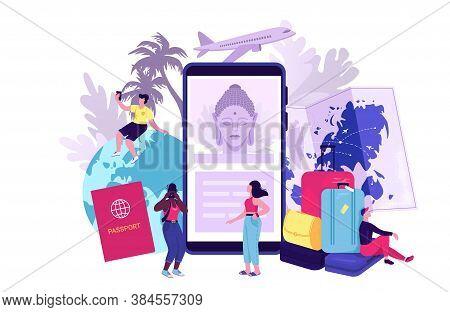 Travel Blog Concept Vector Illustration. Travelling Symbols With Airplane Model, Smartphone, Plane T