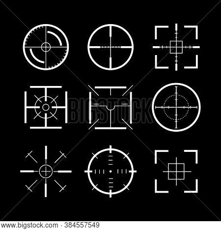 Target Destination Weapon Signs White Thin Line Icon Set Symbol Of Focus And Accuracy On A Dark. Vec