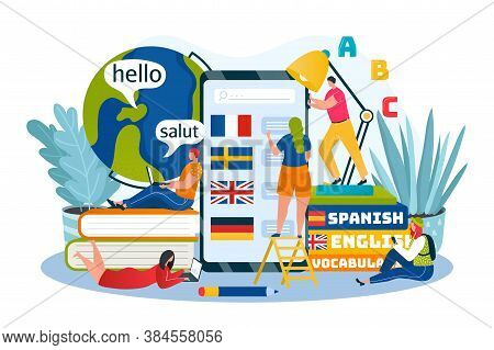 Language Learning, Education And Training Courses Online Vector Illustration. Foreign Languages By I