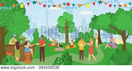 People In Park, Friends Together Having Fun, Leisure And Rest In Summer Nature, Doing Yoga Poses And