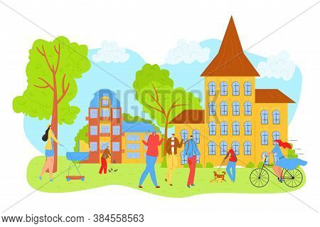 People Walk In City Park In Summer, Leisure And Rest In Nature With Friends Vector Illustration. Mot