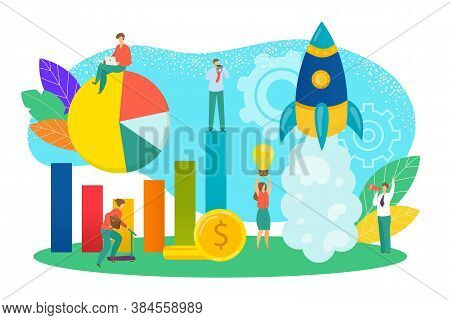 Start Up Concept Of New Business Project Vector Illustration. Start-up Development And Launch New In