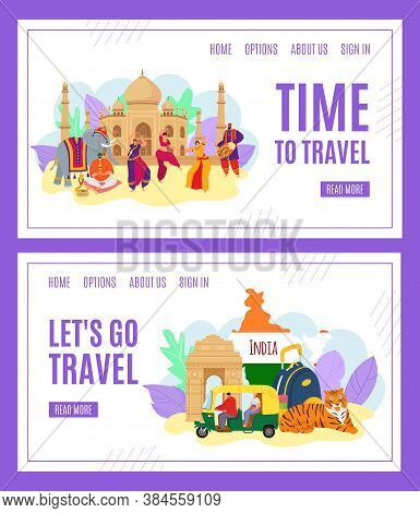 Time To Travel, India Tourism Banners Set Of Vector Illustration. India Landmark. Indians In Traditi